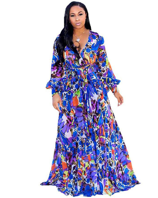 Print Chiffon Plus Size Dress - Girlsintrendy, Girls In Trendy