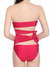 Red One Side Knot One-piece Swimsuit - Girlsintrendy, Girls In Trendy