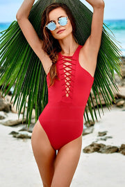 Red Strappy Caged Backless One Piece Swimsuit - Girlsintrendy, Girls In Trendy