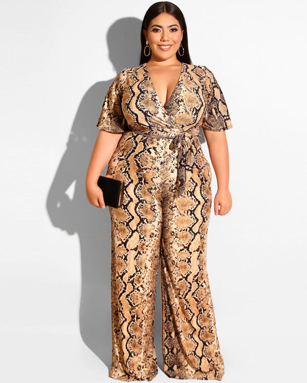Floral Sprout Plus Size Jumpsuit - Girlsintrendy, Girls In Trendy