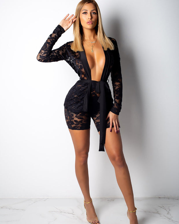 Sexy Lace Bandage Mesh Shorts Set - Girlsintrendy, Girls In Trendy