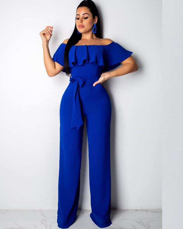 Sexy Ruffle Off Shoulder Belt  Loose  Jumpsuit - Girlsintrendy, Girls In Trendy