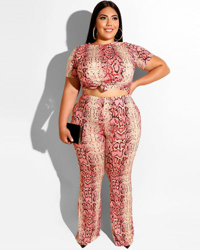Sexy Snake Print Plus Size Matching Set - Girlsintrendy, Girls In Trendy