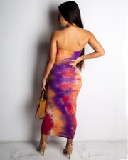 Sexy Strapless Tube Tie Dye Dress - Girlsintrendy, Girls In Trendy