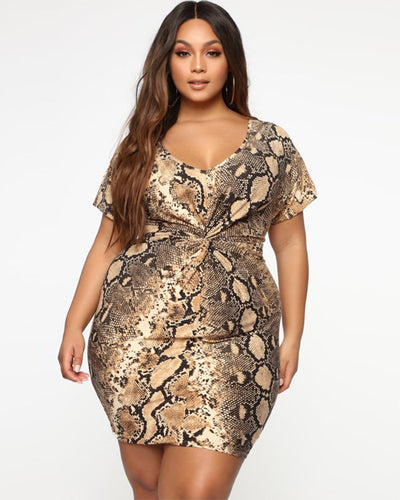 Snake Printed Plus Size Bodycon Dress - Girlsintrendy, Girls In Trendy