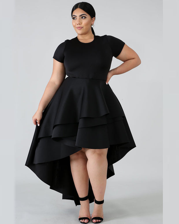 Solid Ruffle High Waisted Dress - Girlsintrendy, Girls In Trendy