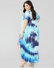Tie Dyed Printing Comfy Dress - Girlsintrendy, Girls In Trendy