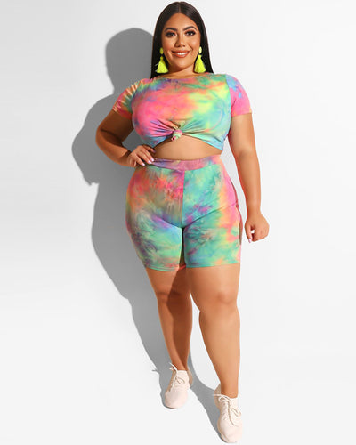 Curvy Tie Dyed Short Set - Girlsintrendy, Girls In Trendy