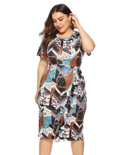 Vintage Printed Midi Dress - Girlsintrendy, Girls In Trendy