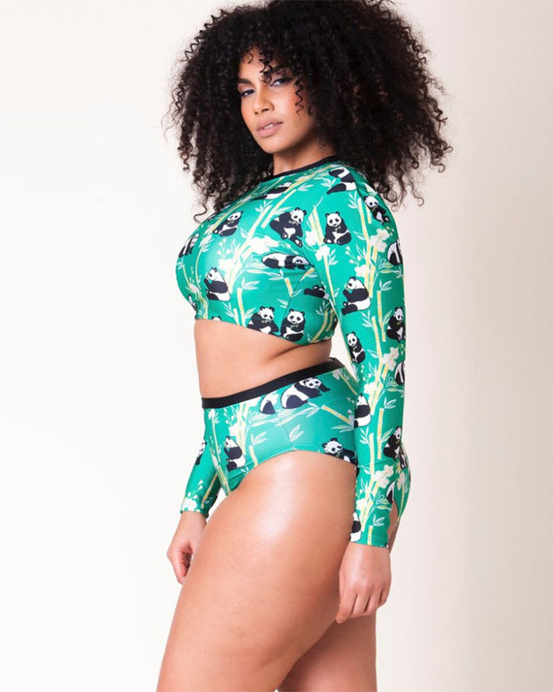Plus Size Animal Print Long Sleeve High-waisted Swimsuit - Girlsintrendy, Girls In Trendy