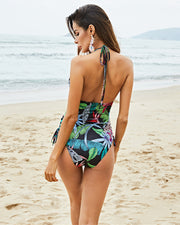 Sexy Deep V Printed One Piece Bikini - Girlsintrendy, Girls In Trendy