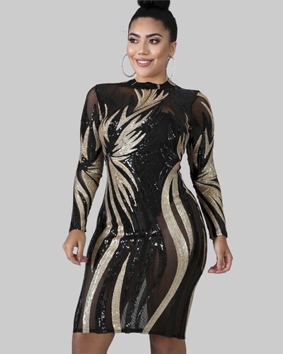 Sequin Glimmer Plus Size Body-Con Dress - Girlsintrendy, Girls In Trendy