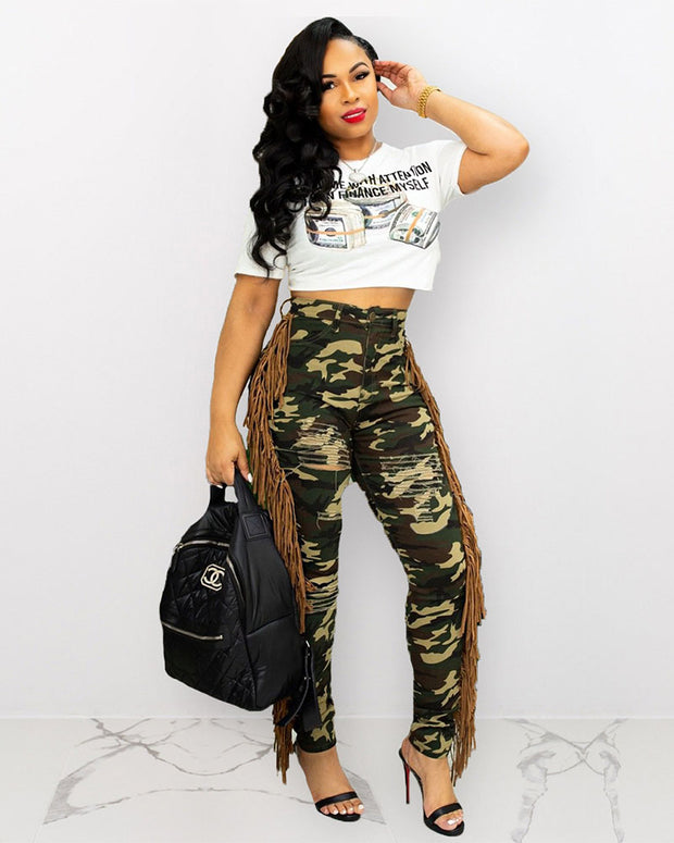 Be Cool High Waist Camo Jeans - Girlsintrendy, Girls In Trendy