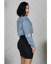SPIKE & STUD DENIM CROP JACKET - Girlsintrendy, Girls In Trendy
