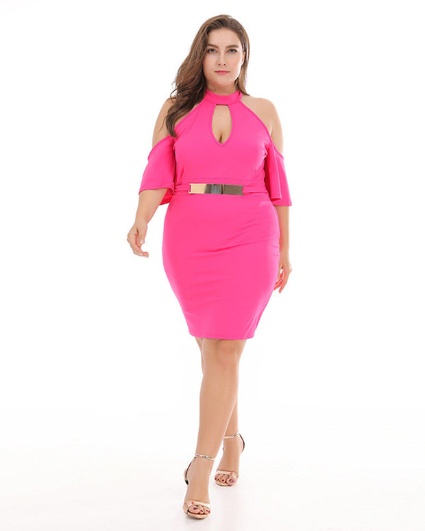 Open Shoulder Bodycon Dress With Belt-Rose Red - Girlsintrendy, Girls In Trendy