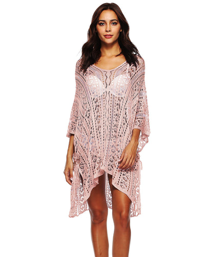 Crochet V Neck Batwing Sleeve Cover up - Girlsintrendy, Girls In Trendy