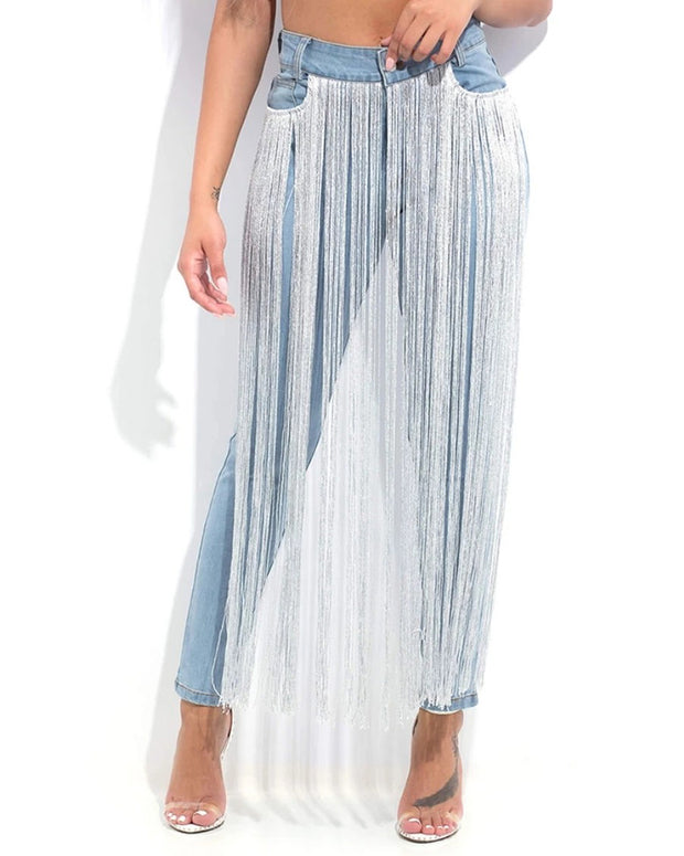 Strings Attanched Denim Fringe Jeans - Girlsintrendy, Girls In Trendy