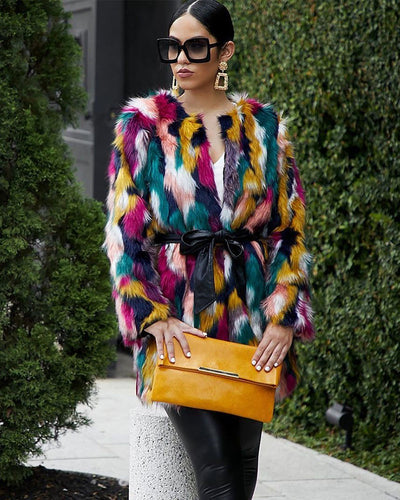 TASTE THE RAINBOW FAUX FUR COAT - Girlsintrendy, Girls In Trendy