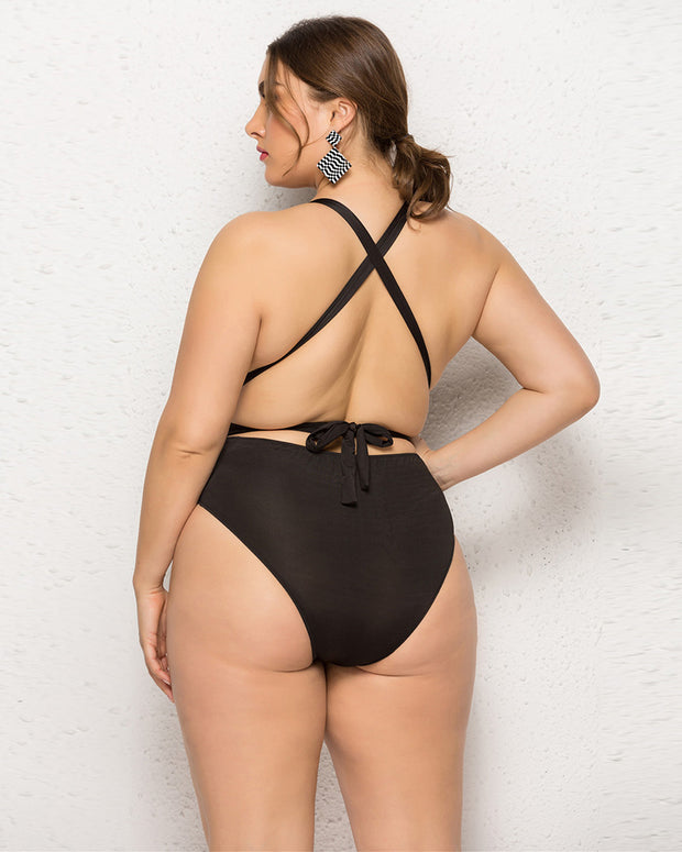 Sexy Backless Plus Size One Piece Swimsuit - Girlsintrendy, Girls In Trendy