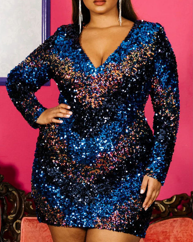Plus Size Luxe Sequin Chevron Mini Dress - Girlsintrendy, Girls In Trendy