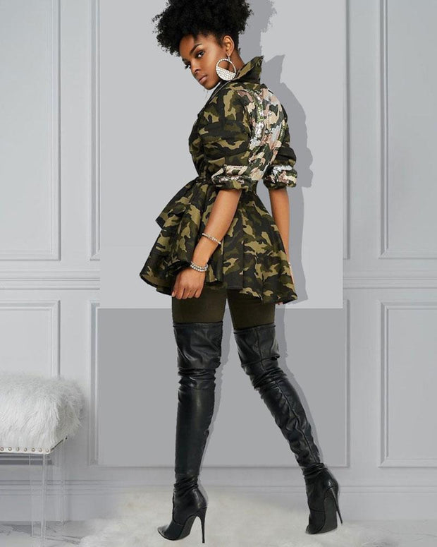 Camo Sequin Peplum Jacket (S ~ 5XL) - Girlsintrendy, Girls In Trendy