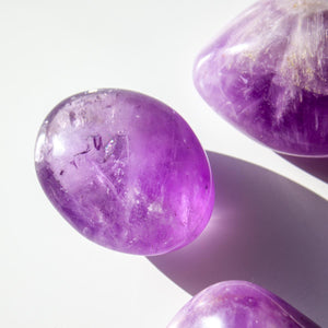 Large Amethyst Palm Stone, for Anxiety, Intuition, and Sobriety
