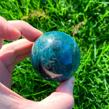 Load image into Gallery viewer, Blue 62mm Apatite Ball, for Motivation, Satisfaction, and Inspiration