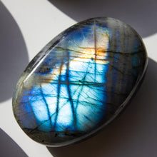 Load image into Gallery viewer, Large Labradorite Palm Stone, for Insecurities, Faith, and Spiritual Awakening
