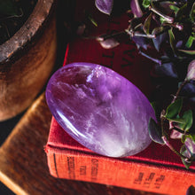 Load image into Gallery viewer, Large Amethyst Palm Stone, for Anxiety, Intuition, and Sobriety