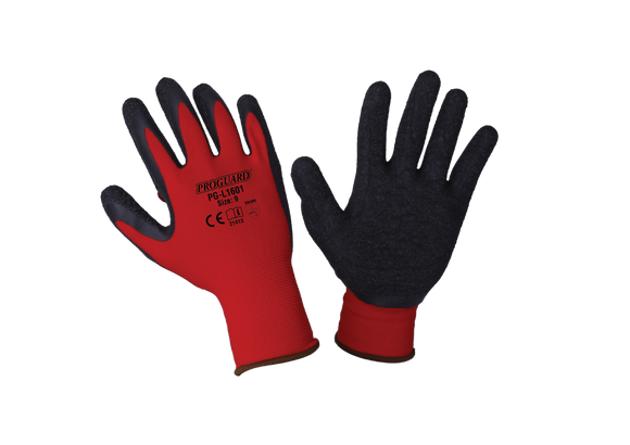Red Nylon Shell Black Latex Glove