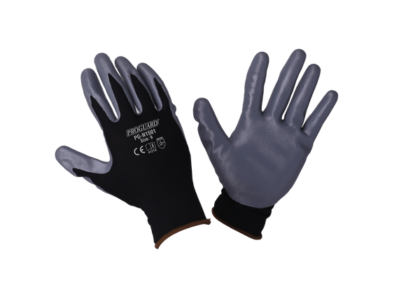 Black Nylon Shell Grey Nitrile Coated Glove