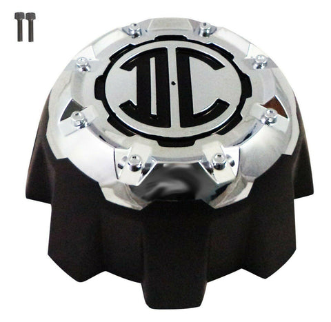 2 Crave Wheels Chrome / Black Custom Wheel Center Cap 8-LUG (1 CAP) W/Screws