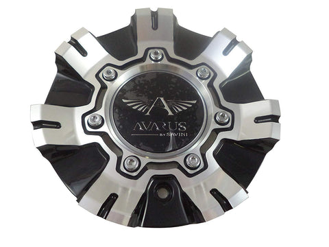 Avarus # M-355-2 / TL CAP M-355-1 Machine Black / Chrome Custom Wheel Center Cap (1 CAP)