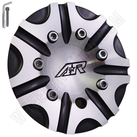 American Racing BLACK & SILVER Custom Wheel Center Cap (4 CAPS) # QT106-L175-GAL