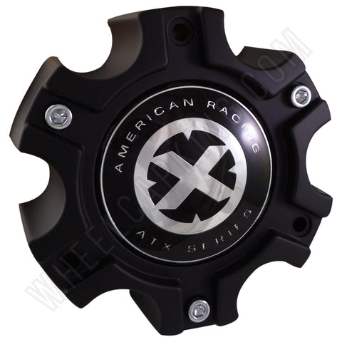 American Racing Wheels ATX Series Flat Black Custom Wheel Center Cap (4 CAPS) #377B140-6H