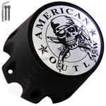 American Outlaw Wheels Flat Black / Chrome logo Custom Wheel Center Caps # BC-790SL (4 CAPS)