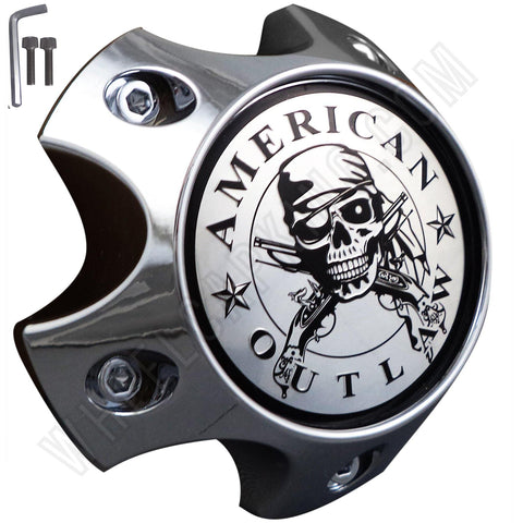 American Outlaw Wheels Chrome Custom Wheel Center Caps # BC-786S (4 CAPS)