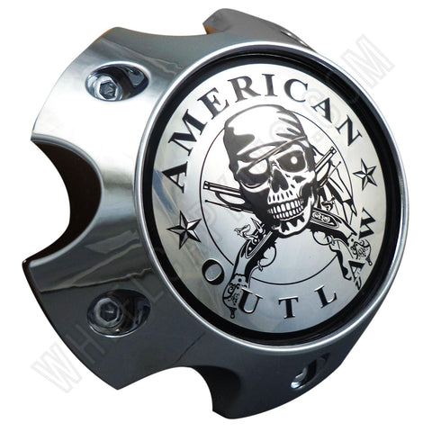 American Outlaw Wheels Chrome Custom Wheel Center Caps # BC-787 (4 CAPS)