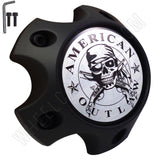 American Outlaw Wheels Flat Black Custom Wheel Center Caps # BC-789S (4 CAPS)