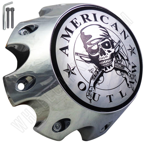 American Outlaw Wheels Chrome Custom Wheel Center Caps # BC-790HS (4 CAPS)