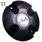 Anella Wheels Gloss Black Custom Wheel Center Caps # C172 (4 CAPS)