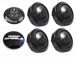 BMF Wheel Center Caps Gloss Black - Fits All 5 LUG (4 CAPS) W/2 Sets Logos