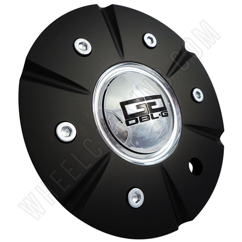 Double G # 504H174-1 Flat Black & Chrome Custom Wheel Center Cap (4 CAPS)