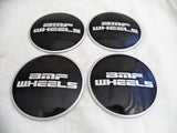 BMF Wheel Center Caps Flat Black TALL - Fits All 8 LUG (4 CAPS) W/2 Sets Logos