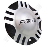 Forte Wheels Black and Silver Custom Wheel Center Caps Set of 4 # C-055-2 NEW!