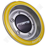 Forte Wheels Silver & Yellow Custom Wheel Center Caps Set of 4 # F26 HEDE NEW!