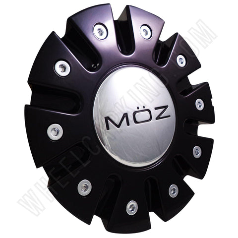 Moz Wheels Gloss Black / Chrome Custom Wheel Center Cap # 7770-15 (4 CAPS)