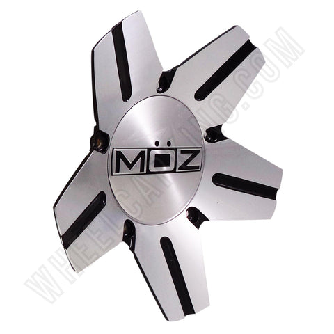Moz 938-AL-CAP Wheels Silver/Black Custom Wheel Center Caps NEW! (4 CAPS)