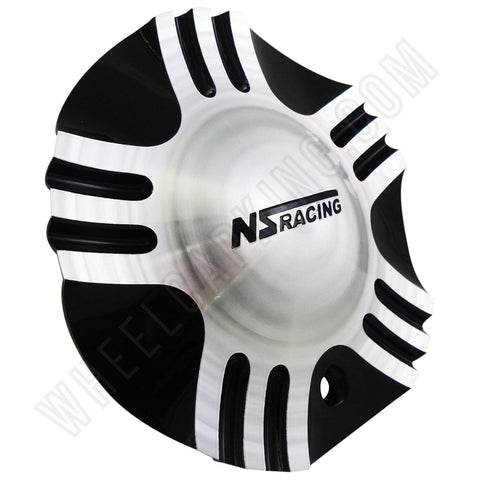 NS Racing Silver / Black Custom Wheel Center Cap Caps Set of 1 # S1050-NS01 / C-055-1 NEW!