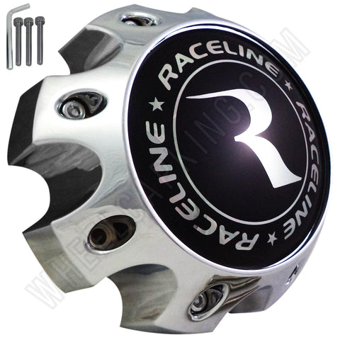 Raceline Wheels Chrome Custom Wheel Center Caps # 1079L170 / 311164 (4 CAPS) 8 LUG